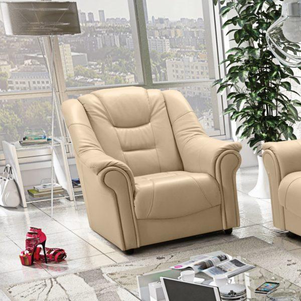 fotel skórzany kremowy