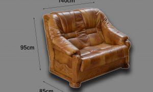 skórzany fotel podwójny wymiary